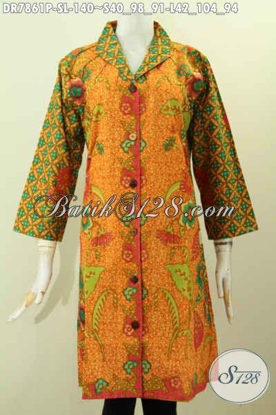 Jual Baju Dress Batik Kerah Langsung, Busana Batik Jawa Terkini Kwalitas Bagus Dan Istimewa Untuk Penampilan Yang Lebih Sempurna [DR7861P-S , L]