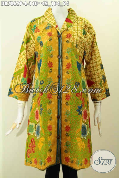 Dress Batik Kerah Langsung Motif Kombinasi, Pakaian Batik Modis Halus Kwalitas Istimewa Proses Printing 100 Ribuan [DR7862P-L]