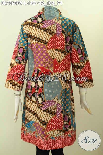 Baju Batik Kombinasi, Pakaian Batik Modis Desain Dress Kerah Langsung Untuk Tampil Gaya Dan Elegan Harga 140K [DR7863P-L]