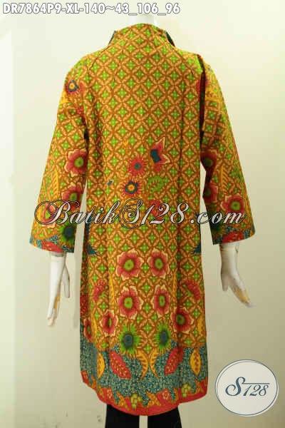 Pakaian Batik Wanita Dewasa, Dress Batik Jawa Tengah Istimewa Bahan Adem Model Kerah Langsung, Penampilan Lebih Berkelas [DR7864P-XL]