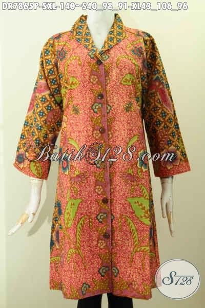 Aneka Busana Batik Jawa Terkini, Produk Baju Batik Solo Dress Kerah Langsung Motif Kombinasi Proses Printing, Cocok Buat Kerja Kantoran [DR7865P-S]