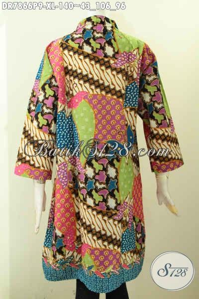 Jual Baju Kerja Bahan Batik Wanita Dewasa, Dress Batik Istimewa Buatan Solo Model Kerah Langsung Kwalitas Bagus Untuk Penampilan Makin Gaya [DR7866P-XL]