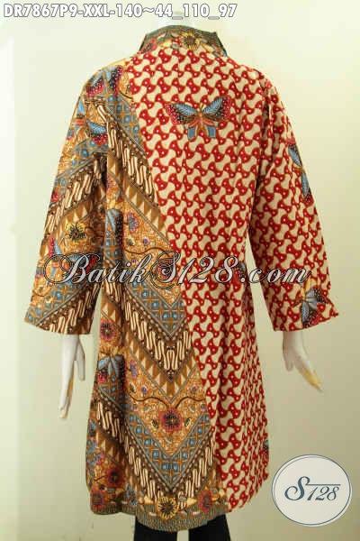 Pakaian Dress Batik Solo Spesial Untuk Wanita Gemuk, Baju Batik Wanita Terbaru Kwalitas Istimewa Motif Kombinasi Model Kerah Langsung Harga 140K [DR7867P-XXL]