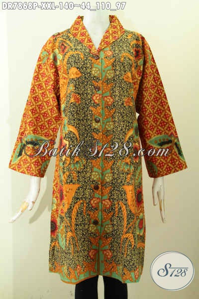 Pakaian Batik Wanita Big Size Terbaru, Hadir Dengan Mode Kerah Langsung Berpadu Motif Mewah Printing, Di Jual Online 140K Cocok Buat Wanita Gemuk [DR7868P-XXL]