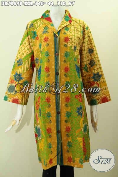 Pakaian Batik Wanita Gemuk Model Kerah Langsung Cocok Untuk Kerja Dan Acara Resmi, Dress Batik Istimewa Buatan Solo Proses Printing Motif Bagus Hanya 100 Ribuan [DR7869P-XXL]