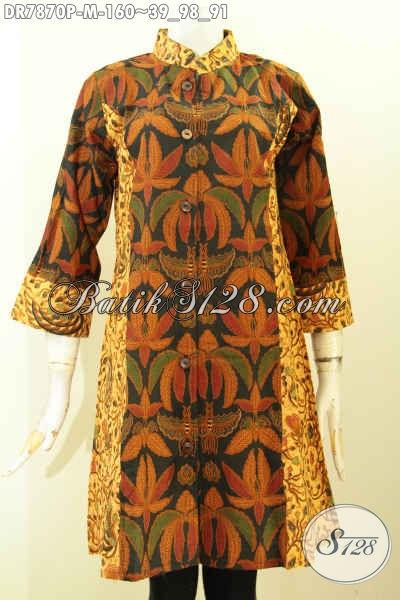 Baju Batik Terusan Elegan, Dress Batik Dual Motif Desain Kerah Shanghai Bahan Halus Motif Mewah Printing 160K [DR7870P-M]