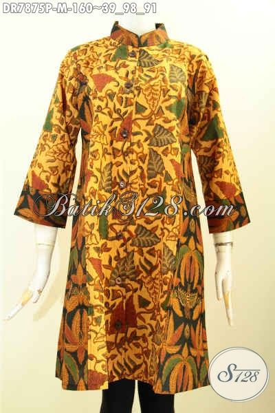Sedia Dress Batik Wanita Kerah Shanghai Lengan 3/4, Dengan Motif Kombinasi, Nyaman Dipakai Kerja