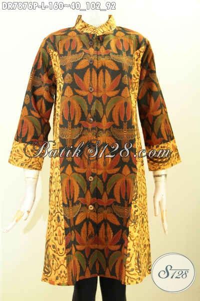 Jual Baju Batik Kerja Wanita Karir Terbaru, Dress Batik Istimewa 2 Motif Model Krah Shanghai Yang Bikin Penampilan Lebih Gaya Dan Berkelas Hanya 160K [DR7876P-L]