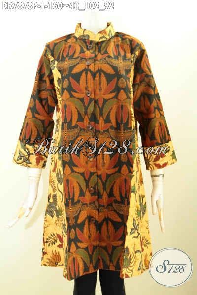 Busana Batik Dress Solo Masa Kini, Pakaian Batik Jawa Tengah Halus Model Krah Shanghai Dengan Kombinasi Dual Motif, Penampilan Lebih Anggun, Size L