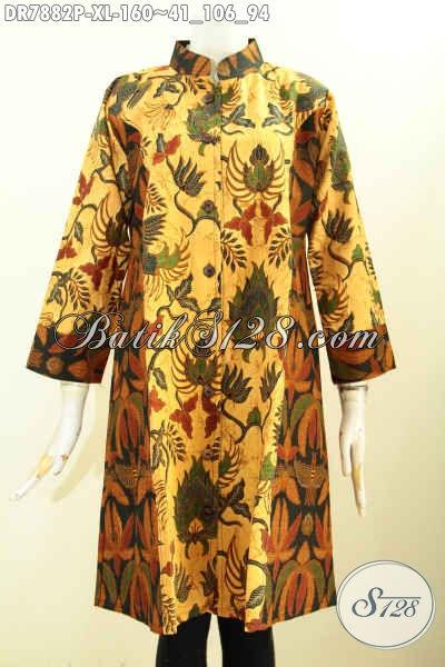 Batik Dress Wanita Dewasa, Busana Batik Kerja Kantoran Model Krah Shanghai Dengan Kombinasi 2 Motif Printing Berkelas, Di Jual Online 160K, Size XL