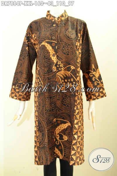 Sedia Batik Dress Big Size, Pakaian Batik Solo Jawa Tengah Bahan Adem Proses Printing Krah Shanghai Dual Motif, Kwalitas Istimewa Dengan Harga Murmer, Size XXL