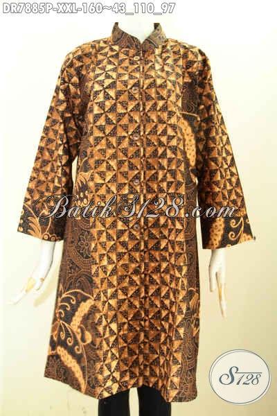 Toko Online Batik Dress Solo Jawa Tengah, Busana Batik Wanita Masa Kini Dengan Krah Shanghai Untuk Penampilan Cantik Dan Anggun, Size XXL