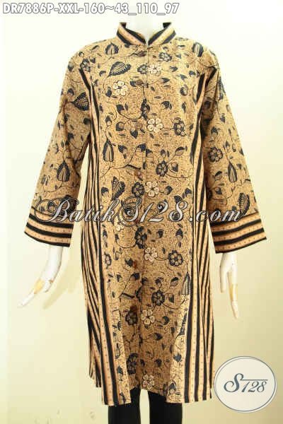 Sedia Baju Batik 3L Untuk Wanita, Busana Batik Terusan Krah Shanghai Kombinasi 2 Motif, Pas Banget Untuk Acara Resmi [DR7886P-XXL]