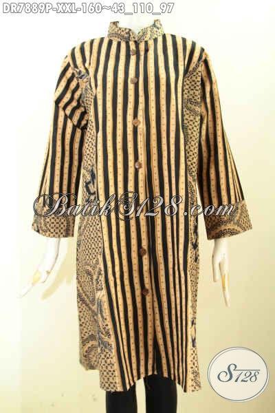 Jual Busana Batik Eksklusif Wanita Gemuk, Pakaian Batik 3L Elegan Kombinasi 2 Motif Dengan Krah Model Shanghai, Bahan Adem Nyaman Di Pakai, Size XXL