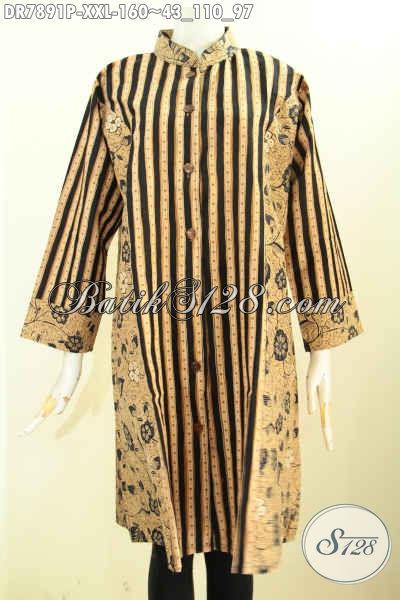 Koleksi Terbaru Busana Batik Terusan Untuk Wanita Gemuk, Pakaian Batik Jawa Terkini Kombinasi 2 Motif Model Krah Shanghai, Tampil Terlihat Langsing Dan Cantik [DR7891P-XXL]