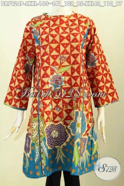 Pusat Baju Batik Modern Online, Sedia Dress Batik Jawa ELegan Dan Modis, Baju Batik Terusan Model Tanpa Krah Relseting Depan Motif Bagus Printing 160 Ribu, Pas Buat Ke Kantor [DR7924P-L]