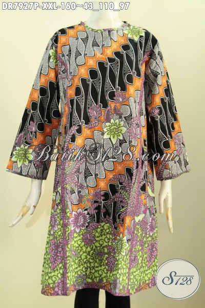 Produk Pakaian Batik Wanita Terkini, Baju Batik Terusan Tanpa Krah Keren, Dress Batik Resleting Belakang Untuk Tampil Gaya, Size XXL