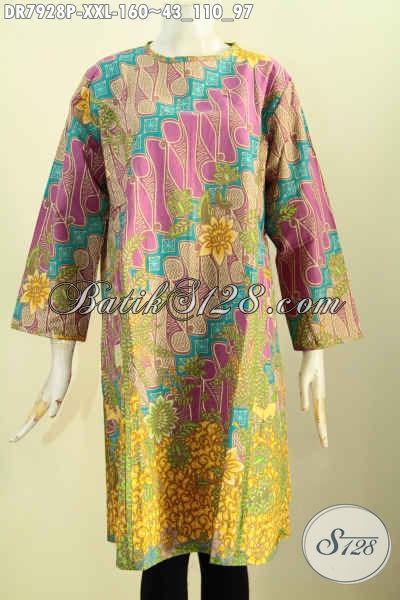 Produk Baju Batik Wanita Gemuk Terbaru, Busana Batik Jawa Tengah Model Tanpa Krah Resleting Depan Bikin Penampilan Lebih Gaya Dan Keren [DR7928P-XXL]