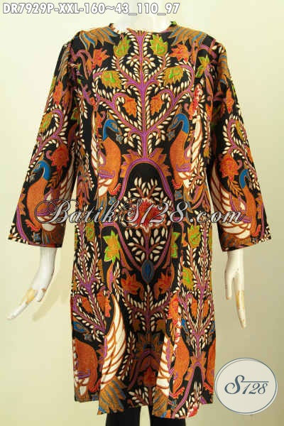 Baju Batik Solo Terkini, Dress Batik Terusan Model Trendy Tanpa Krah Pakai Resleting Depan Motif Bagus, Spesial Untuk Wanita Gemuk Tampil Bergaya [DR7929P-XXL]