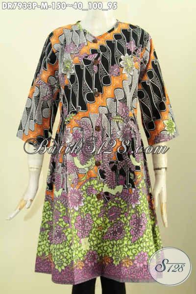 Pakaian Batik Wanita Muda, Baju Batik Terusan Motif Kombinasi Sentuhan Klasik, Dress Batik Tanpa Kra Kancing Depan, Penampilan Lebih Cantik [DR7933P-M]
