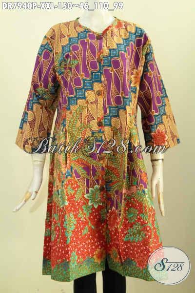Baju Batik Modern Klasik, Dress Batik Istimewa Bahan Halus Proses Printing Kancing Depan Tanpa Krah, Penampilan Lebih Istimewa [DR7940P-XXL]