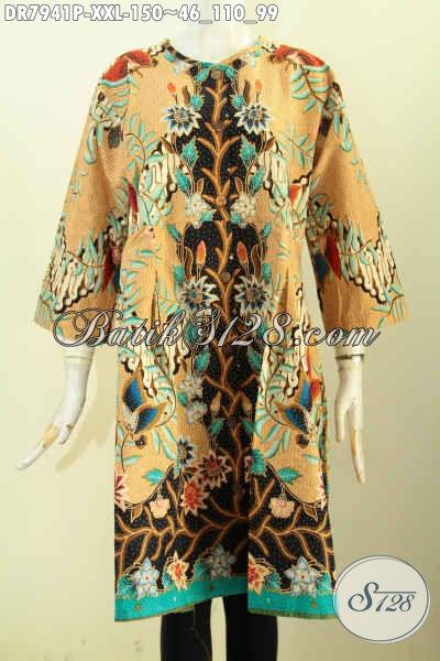 Busana Batik Dress Solo Model Kekinian Tanpa Krah Ukuran 3L, Baju Batik Terusan Kancing Depan Proses Printing Untuk Wanita Gemuk Terlihat Anggun [DR7941P-XXL]