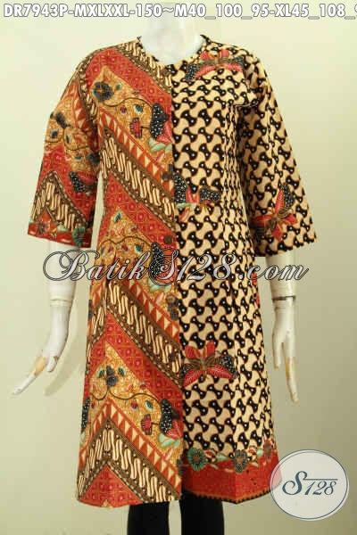 Baju Batik Klasik Motif Kombinasi, Dress Batik Printing Elegan Tanpa Krah Pakai Kancing Depan Yang Membuat Penampilan Mempesona [DR7943P-M]