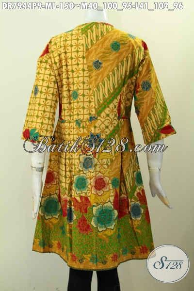 Aneka Baju Batik Cewek Modis Model Terbaru Tanpa Krah Kwalitas Istimewa Motif Klasik Proses Printing, Di Lengkapi Kancing Depan Untuk Kerja Dan Acara Resmi Harga 150K [DR7944P-M , L]