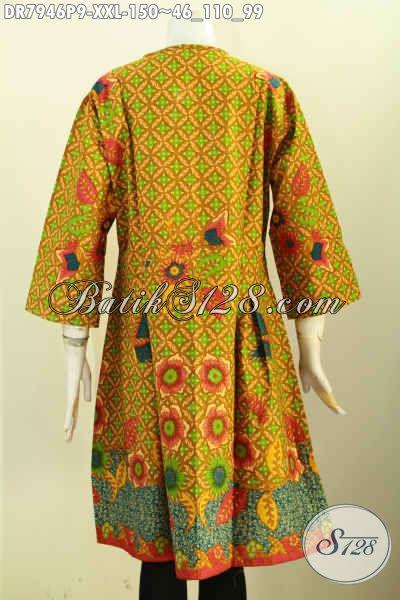 Sedia Pakaian Batik Wanita Koleksi 2017, Busana Batik Solo Berkelas Desain Mewah Harga Murah, Cocok Untuk Santai Dan Resmi, Size XXL