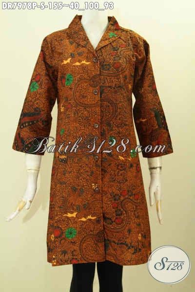 Batik Dress Kerah Langsung Motif Klasik Printing, Busana Batik Kerja Wanita Karir Desain Terbaru Nan Istimewa [DR7978P-S]