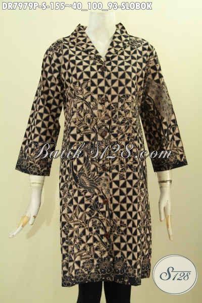 Busana Batik Klasik Wanita Muda, Baju Batik Terusan Motif Slobok Proses Printing, Dress Batik Kerah Langsung Harga 155K [DR7979P-S]