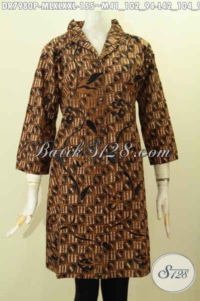 Batik Dress Solo Klasik, Busana Batik Jawa Tengah Proses Printing Model Krah Langsung Kwalitas Istimewa Bikin Penampilan Lebih ELegan [DR7980P-L]