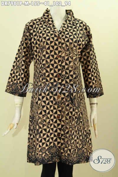 Busana Batik Elegan Desain Krah Langsung, Baju Dress Batik Klasik Motif Slobok Kwalitas Halus Proses Printing Hanya 155K [DR7981P-M]