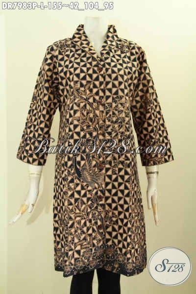 Batik Dress ELegan Motif Klasik, Pakaian Batik Berkelas Motif Bagus Buatan Solo Harga Terjangkau [DR7983P-L]