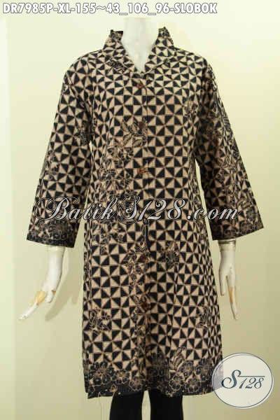 Dress Batik Klasik Motif Slobok Model Krah Langsung, Baju Batik Elegan Nan Mewah Untuk Penampilan Cantik Dan Anggun [DR7985P-XL]