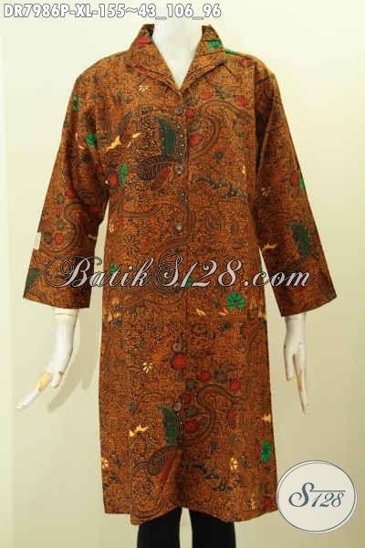 Baju Batik Kerja Wanita Dewasa, Dress Batik Klasik Proses Printing Kwalitas Halus Buatan Solo Asli Harga 155K Mode Krah Langsung [DR7986P-XL]