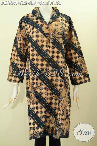 Baju Batik Terusan, Dress Batik Solo Halus Nan  Istimewa, Pakaian Batik Jawa Terkini Buatan Solo Jawa Tengah Model Krah Langsung, Tampil Lebih Istimewa [DR7987P-XXL]