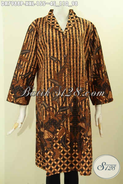 Dress Batik Jawa Terkini, Pakaian Batik Terusan Nan Istimewa Yang Membuat Wanita Gemuk Cantik Menawan [DR7988P-XXL]