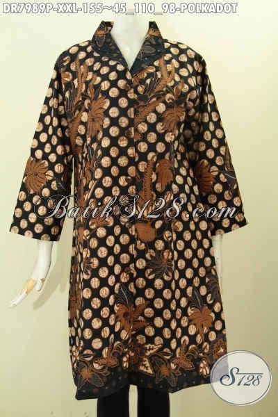 Batik Dress 3L, Busana Batik Terusan Motif Polkadot Desain Krah Langsung Bahan Adem Proses Printing 100 Ribuan [DR7989P-XXL]