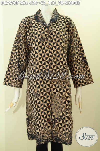 Busana Batik Big Size, Produk Dress Batik Krah Langsung Nan Berkelas Bahan Halus Proses Printing Motif Slobok Harga 155K [DR7990P-XXL]
