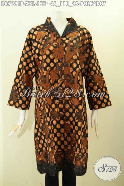 Baju Batik Dress Elegan Big Size, Busana Batik Solo Istimewa Proses Printing Bahan Adem Untuk Kerja Dan Acara Resmi, Size XXL