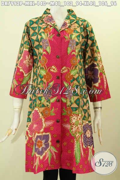 Aneka Busana Batik Wanita Muda Dan Dewasa, Dress Batik Krah Langsung Modis Dan Berkelas Proses Printing Hanya 140K [DR7992P-XL]