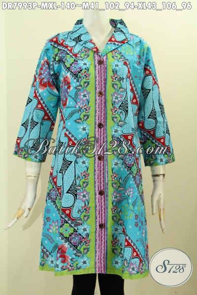 Dress Batik Wanita Muda Warna Cerah Motif Unik Desain Krah Langsung Kwalitas Istimewa Harga Biasa, Size M