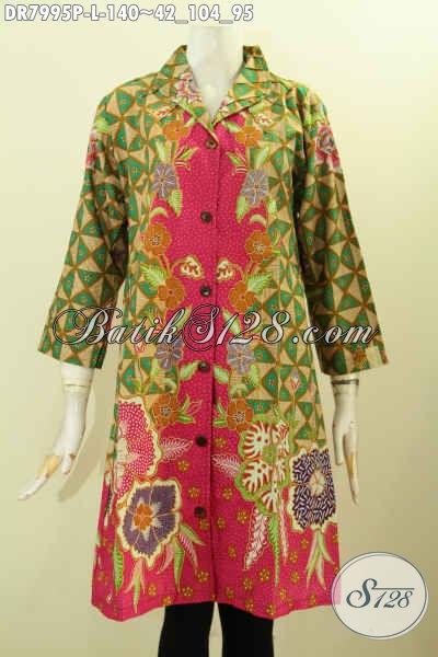 Pakaian Batik ELegan Mewah Harga Murah, Baju Dress Batik Solo Printing Model Krah Langsung Untuk Tampil Cantik Mempesona [DR7995P-L]