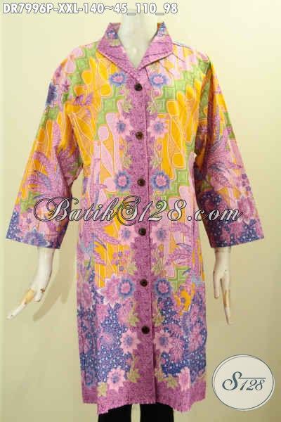 Dress Batik Wanita Gemuk, Busana Batik Solo Elegan Dan Mewah, Pakaian Batik Krah Langsung Motif Trendy Hanya 140K [DR7996P-XXL]