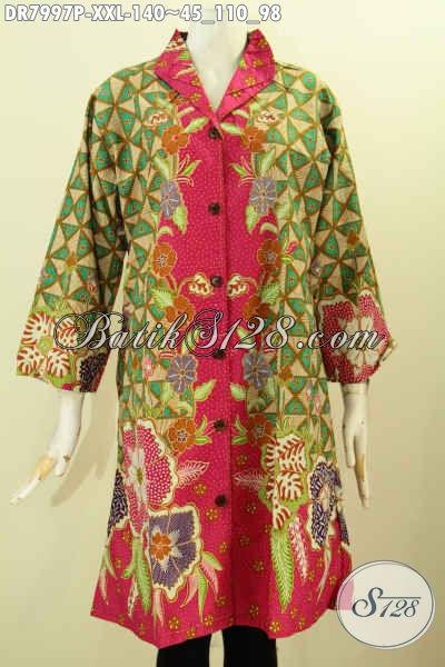 Baju Batik Wanita Gemuk, Dress Batik Krah Langsung Motif Klasik Dengan Kombinasi Warna Mewah Berkelas Hanya 140K, Size XXL