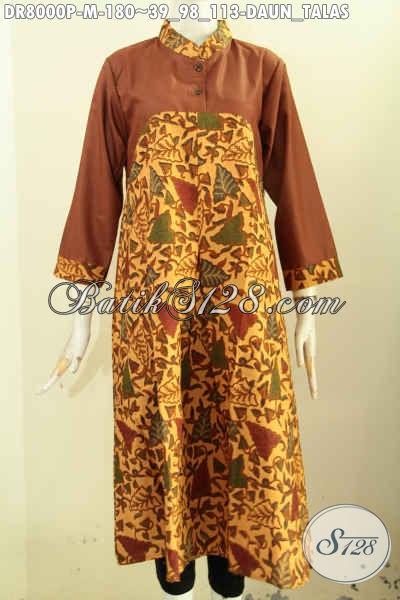 Long Dress Batik Motif Daun Talas, Baju Batik Elegan Dan Istimewa Untuk Penampilan Lebih Mempesona Dan Mewah Harga Terjangkau, Size M