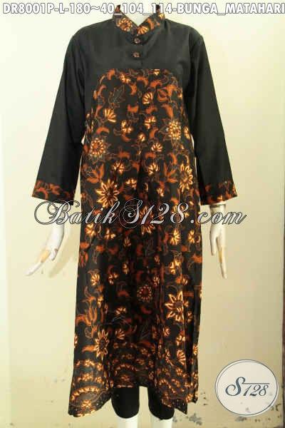Dress Batik Panjang Halus Nan Modis, Produk Pakaian Batik Solo Elegan Dengan Kancing Depan Untuk Penampilan Yang Mempesona [DR8001P-L]