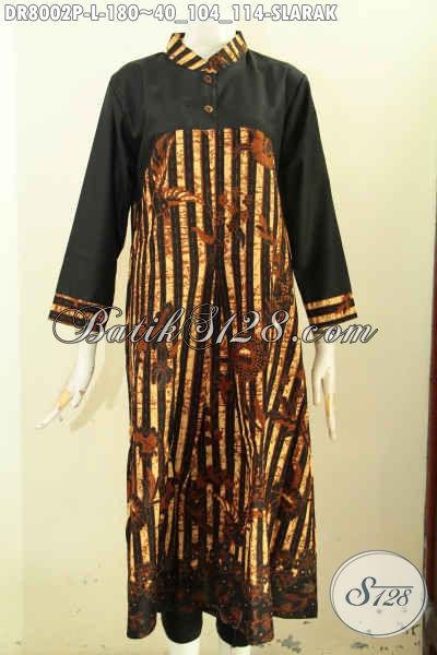 Produk Terbaru Dress Batik Panjang Motif Klasik Kombinasi Polos, Busan Batik Solo Proses Printing Untuk Kerja Dan Acara Resmi Harga 180K [DR8002P-L]