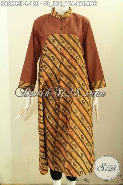 Dress Batik Panajang Kombinasi Kain Polos, Baju Batik Elegan Motif Parang Klasik Proses Printing, Penampilan Cantik Dan Mewah, Size L